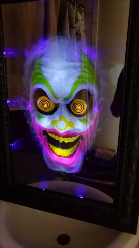 Used Spirit Halloween Animated Scary Clown Mirror 2012 Prop Working Rare Retired