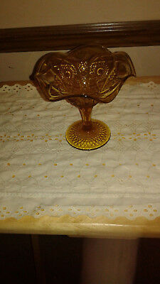 Gold Colored Glass Pedestal Candy Dish with Fluted Edge (Gold Colored Candy)