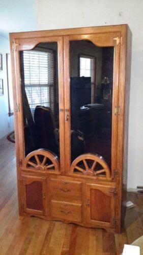 Vintage Wagon Wheel Ranch Oak A Brandt Gun Cabinet