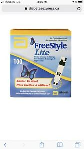 Freestyle lite blood glucose test strips box of 100