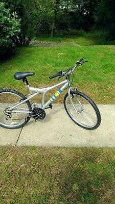 """Kent 26"""" Men's Mountain Bike 14 Speed Silver with Stripes, 18"""" Frame Front Shock"""