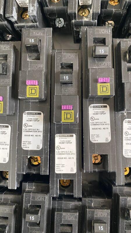 Square D Dual Function Circuit Breaker HOM115PDF AFCI / GFCI BREAKER  ---USED---