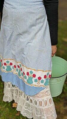Vintage Aprons, Retro Aprons, Old Fashioned Aprons & Patterns Vintage Blue Floral Pot Waist Half Apron  $12.00 AT vintagedancer.com