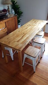 Custom made dining table with 8 matching stools