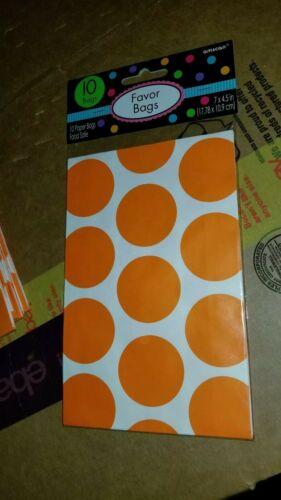 10 Orange Peel Polka Dot Packaging Paper Favor Bags