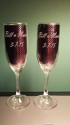 2 Personalized Wedding Glasses - Engraved Champagne Wine Toasting Flutes - Gift - Engraved Wedding Flutes