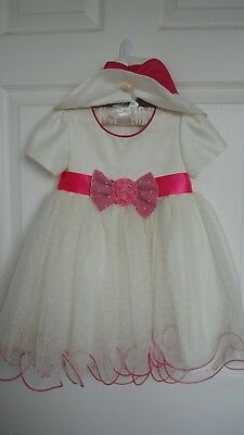 Baby Girls' Net party dress Pink 12-18 months with Hat