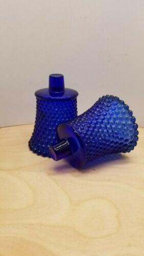 2 Cobalt Blue Home Interiors Hobnail Peg Votive Cup Candle Holder EUC