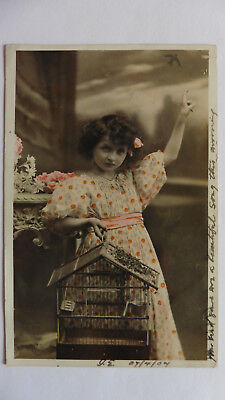 Girl With Birdcage, Real Photo, Posted Santa Fe, Argentina, To U.K. 1907