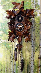 cuckoo clock black forest quartz german wood batterie clock handmade new 13,7