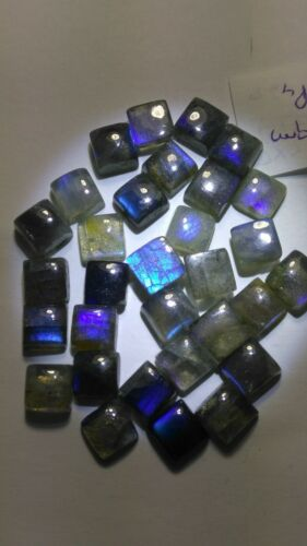 NATURAL SQUARE SHAPE NEON BLUE SHEEN LABRADORITE AVG SIZE 7X7 mm  14 gms.28Pcs.