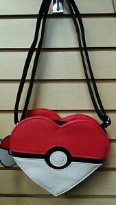[PMTB0008] Pokemon Pokeball Heart Shaped Faux Leather Crossbody Bag