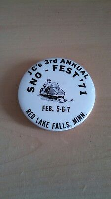 Vintage Collectible ButtonPinBack JC's 3rd Annual SnoFest Red Lake Falls MN 1971