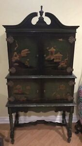 Hand painted Asian antique cabinet