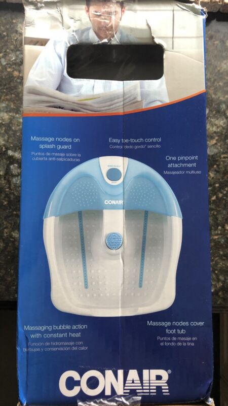 New CONAIR Foot Spa with Bubbles & Heat with Constant Light & Toe Touch Controls