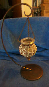 METAL-TEA-LIGHT-CANDLE-HOLDER-WITH-HANGING-DECORATIVE-GLASS-GLOBE