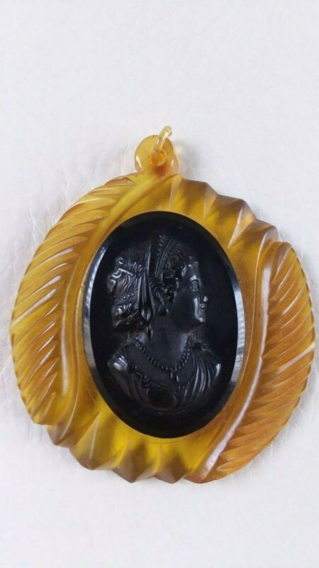 VTG Mourning Black Bakelite Cameo on Apple Juice Chiseled Scalloped Oval Pendant