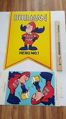 Budweiser Budman Bud Man Advertising Pennant & Table Card NOS Vintage 1969