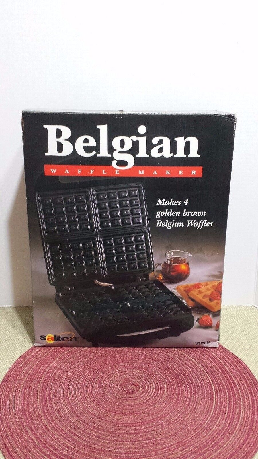 SALTON ELECTRIC BELGIAN WAFFLE MAKER MODEL WM9BEL ~ BLACK 14