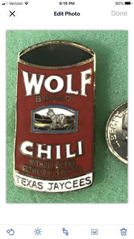 Texas Jaycees Wolf Brand Chili Pin 1979 Corporate Sponsor