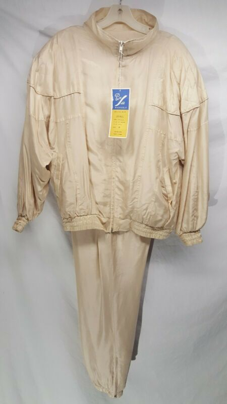 Vintage 80's Rhoda Lynne Gold Track Suit Womens Size M Jacket Pants 2 Piece Set