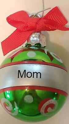 Mom Christmas Tree Ornament Green Red Bow Small Plastic Ball Mom Christmas Gift  ()