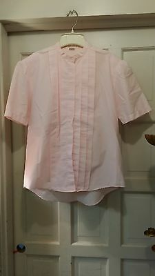 WOMENS CLERICAL BLOUSE CM ALMY & SON PINK SHORT SLEEVE SZ 15/16 PLEATED FRONT