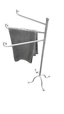 3 Arms Metal Towel Rack Stand Holder Le Bain White Old Finish