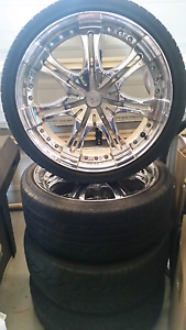 Six stud 20 inch chrome wheels with tyres Carrum Downs Frankston Area Preview