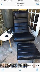 Leather recliner chair with ottoman - has massage and heat settings Rose Bay Eastern Suburbs Preview
