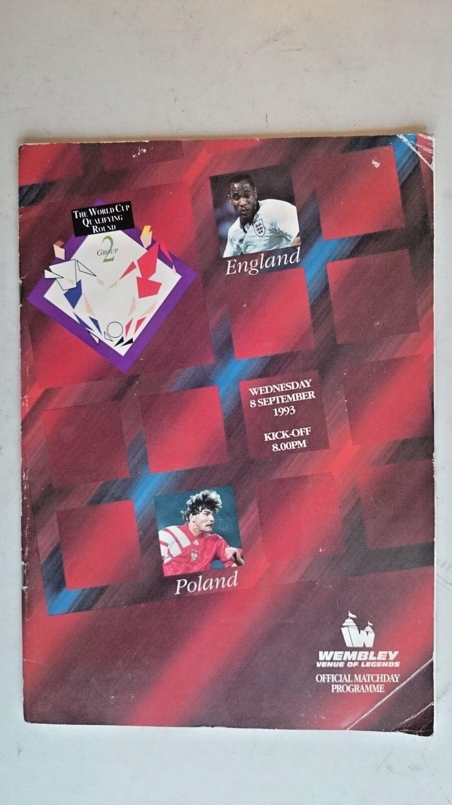 England v Poland..Official Matchday Programme..(8th September 1993)