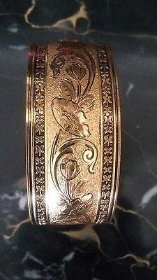 Antique Vintage Victorian Lrg Enamel & Gold Filled ?  Bangle Bracelet Mourning