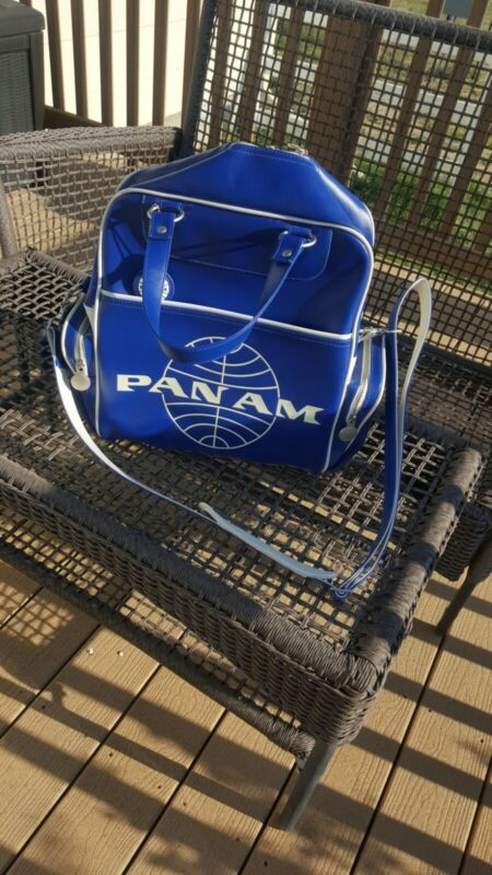 Vintage Style Pan American Pan Am Airlines Carry-On Luggage / Bag  BLUE