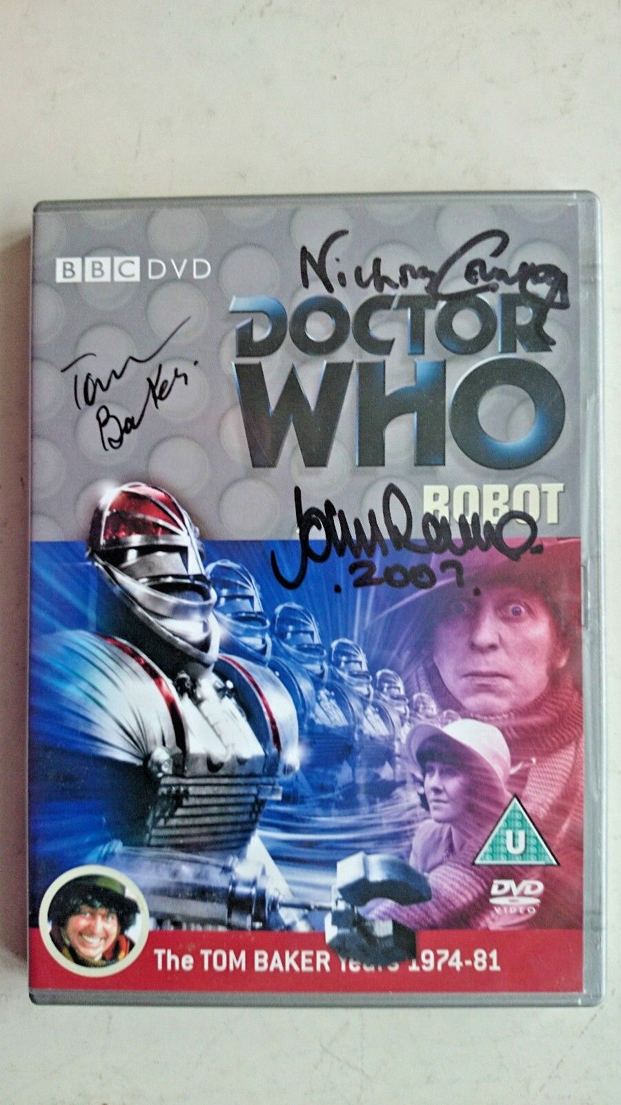 Doctor Who Robot (DVD 2007) - Tom Baker, 3 x Autographed Inlay