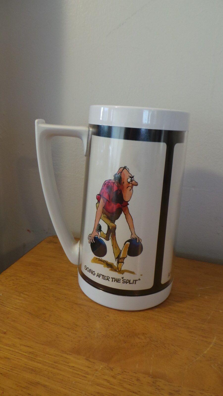 Retro Bowler Bowling Tankard Mug Bag Shoe Ball Team Sport Plastic Thermo-serv