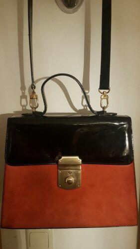Damen Handtasche schwarzes Lack Leder mit terrakotta/orangenes Wildleder LAUREL