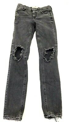 FREE PEOPLE WOMENS BLACK DESTROYED JEANS SIZE 26R