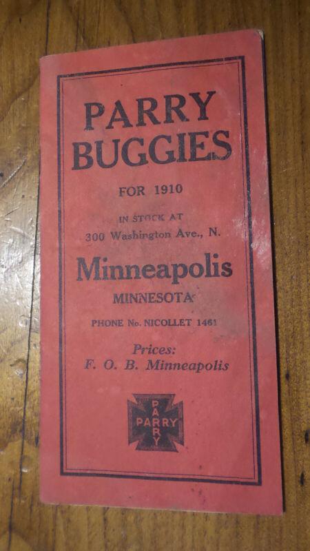 1910 Antique Advertising PARRY BUGGIES CATALOG Price List