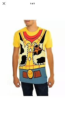 Men Disney Costume (Men's Official Disney Toy Story Woody Costume Yellow Graphic T-Shirt Size)