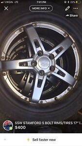 """SSW STAMFORD RIMS 17"""" 5x100 with tires"""