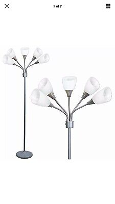 Light Accents Medusa Grey Floor Lamp With White Acrylic Shades -
