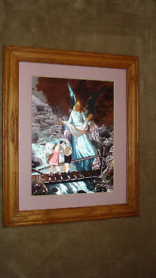 Guardian Angel Picture Frame - Guardian Angel Metal Etched Bridge Picture - Wood Frame - Arizona Metal Etchings