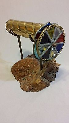 Vintage Brass Double Wheel Kaleidoscope with Petrified Wood Stand for sale  Antioch
