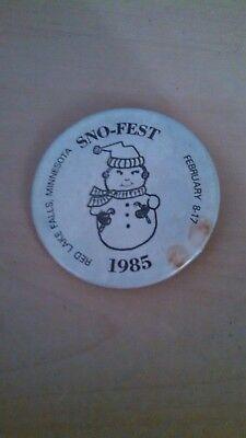 Vintage Collectible ButtonPinBack Jaycees SnoFest RedLakeFalls MN Snowman 1985