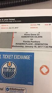 Oiler tickets  Jan 18 section 115 row 21 worth over $400