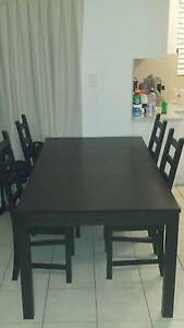 BJURSTA Extendable Table, Brown-Black and 4 chairs. Morningside Brisbane South East Preview