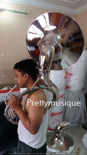 """SOUSAPHONE 22""""BELL OF PURE BRASS IN SILVER CHROME POLISH+CASE +MOUTHPC +SHIPPING"""