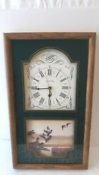 Ingraham Mallards Art Picture Wall Clock 3 Hand Battery Powered
