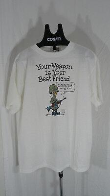 80s vintage Weapon is your Best Friend cartoon white t shirt XL USMC