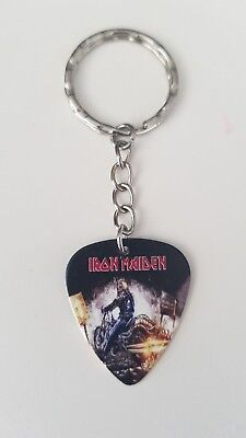 Iron Maiden guitar pick keychain / keyring